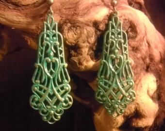 Aqua patina filigree earrings