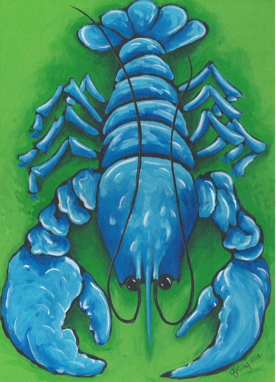big boy blue blue lobster acrylic painting by theyellowqlobster. Black Bedroom Furniture Sets. Home Design Ideas