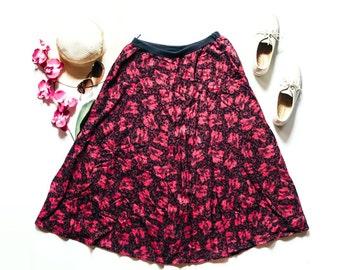 90s Floral Skirt | Floral Maxi Skirt | Pink Purple Skirt | Purple Maxi Skirt | Vintage Skirt | Vintage Maxi Skirt - Size 40 M Medium