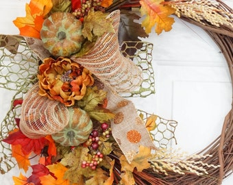 Fall Rustic Grapevine Wreath-Peony and Pumpkin with Flocked Spray  Wreath-Moss Wire and Shimmering Polka dot Wreath-Thanksgiving Wreath