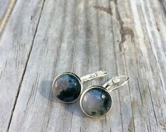 Natural Moss Agate Earrings, Stone earrings, Leverback Earrings