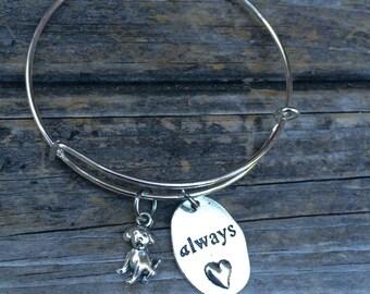 Dog Love bracelet, dog Bracelet, Charm Bangle, Puppy bracelet, Animal Bracelet, Pet Bracelet, Love always Bracelet
