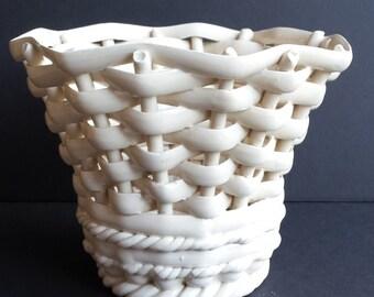 Vintage Italian Made Woven Porcelain Basket