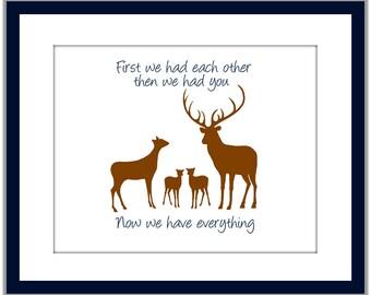 First We Had Each Other. Deer Family Two Babies. Art for Twins. Deer Family Two Fawns. Deer Art for Twins.  Woodland Deer Nursery Art
