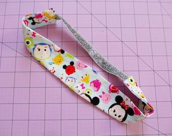 Tsum Tsum Characters Print Silver Glitter Elastic Headband