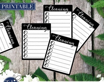 BLACK CLEANING checklist printable planner stickers. Calligraphy checkboxes for Erin Condren and Happy planner planner.