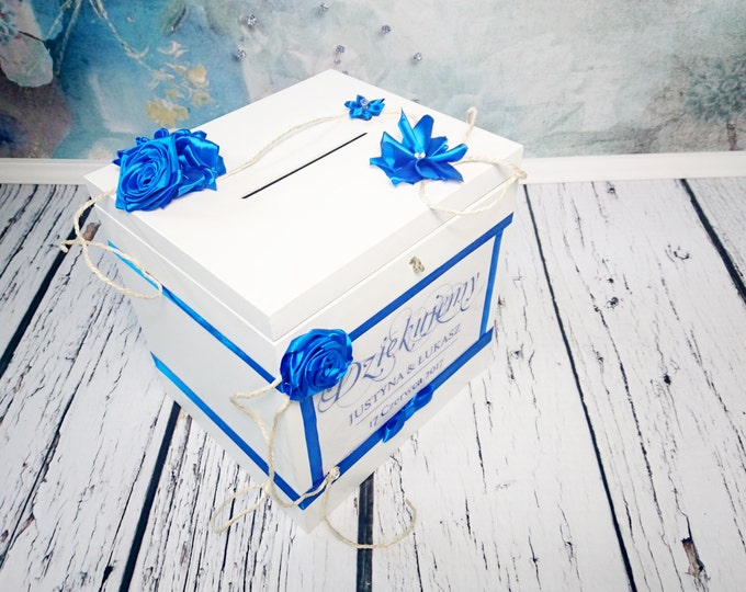 White blue Wooden wedding cards keepsake key locked memory box elegant white blue satin ribbon flowers custom trunk storage wedding box