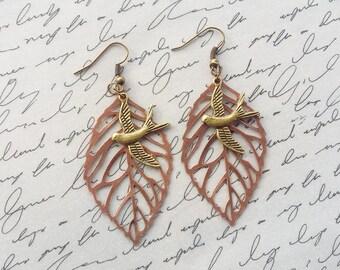 Rustic Copper Leaf Earrings, Flying Bird Earrings, Copper Dangle Earrings, Boho Jewelry, Leaf Jewelry, Copper Earrings, Handmade Jewelry