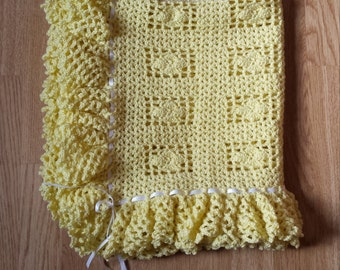 Ruffles & Ribbons Blanket, Soft Yellow Easter Baby Blanket