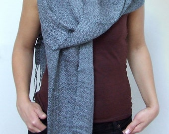 Gray scarf cotton viscose scarf fashion scarf hand woven scarf grey cotton scarf fashion gifts woman scarf handwoven cotton fringed shawl
