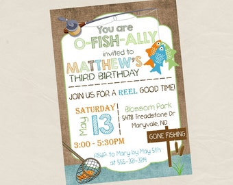 FISHING Birthday Party Invitation Invite -Digital or Printed