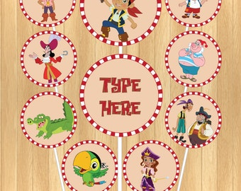 INSTANT DOWNLOAD - EDITABLE Jake and the Neverland Pirates Cupcake Topper