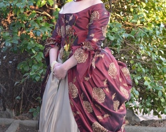 Polonaise dress Burgundy with gold flowers