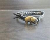 ON SALE Vegan Friendly Faceted Labradorite Healing Crystal Single wrap Bracelet with Elephant Button