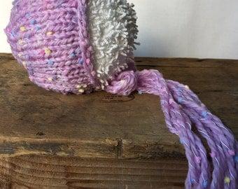 SALE!! Newborn Preemie Bonnet, Newborn Hat, Newborn Photo Prop, Baby Bonnet, Newborn Photography Prop, Newborn Photo Session, Knit Bonnet, K