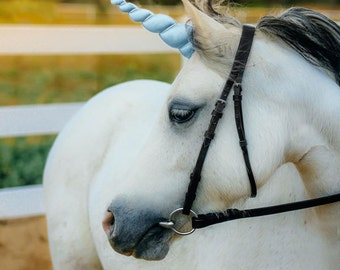 Sky Blue Unicorn Horn for Horse, Pony or Miniature Horse by WishPony, The Original Makers of the Child-Safe Unicorn Horn MADE TO ORDER