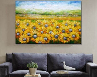 Landscape Painting, Original Painting, Oil Painting, Wall Art, Canvas Art, Abstract Painting,  Large Art, Canvas Painting, Sunflower Art