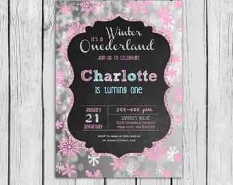 WINTER ONEDERLAND Invitation Pink or Blue Birthday Party,Onederland Invitation,Winter Invite,Onerderland Birthday,First Birthday,Printable