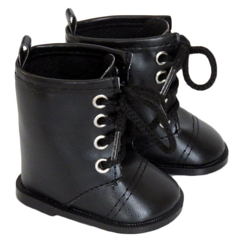 18 inch doll shoes black combat boots