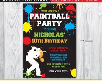 paintball invitation, paintball birthday invitations, neon invitation, paintball birthday, paintball invite, neon chalkboard instant