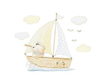 "Nursery Art ""BOAT"" Art Print, Sea Illustration. Teddy bear on  Boat."