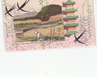 C 1910 Japan Handmade Antique Postcard Bas Relief Fields,Mt Fuji And Neighboring Slope
