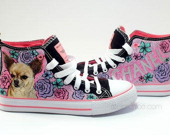 Converse Pet portrait sneakers custom dog shoes gift for pet lovers hand painted dog sneakers puppy portrait personalized pet converse
