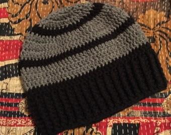 Black and Grey Striped Beanie