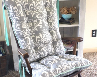 Custom Ozborne Damask Rocking Chair Cushions, Glider Replacement Pads, Rocker Cushions, Wooden Rocking Chair Pads