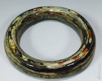 Laminated Paper Bangle, Laminated Paper Bracelet, Magazine Bangle, Handmade from magazine pages, Clear epoxy coated, Gift for Writer, OOAK