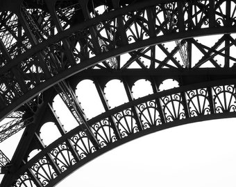 Paris black and white photography, Eiffel Tower, Paris photography, black and white photo, architecture, Eiffel Tower detail, fine art print