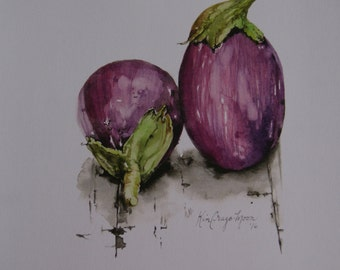 Eggplant Watercolor Art Print Purple Watercolor Home Decor Wall Art Kitchen Decor