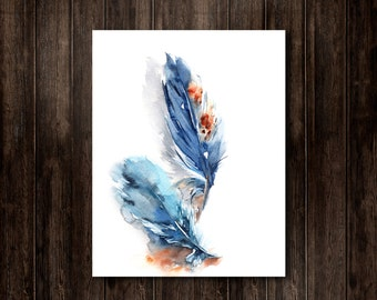 Feathers Watercolor Print, Watercolor Painting, Blue Feathers Painting, Feathers Illustraion, Modern Watercolour Wall Art