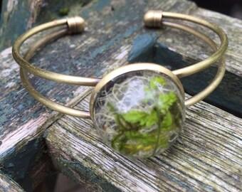 Botanical Jewellery - real lichen and moss bangle