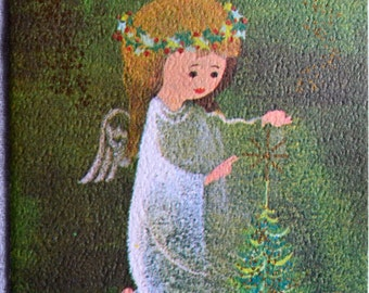 Vintage Christmas Card - Angel and Small Tree - Used