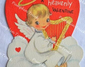 UNUSED Vintage Valentine Card - Little Angel and Harp - Hallmark