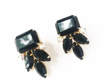 Art Deco Earrings, Bridal Earrings, Vintage Earrings, Crystal Earrings, Rhinestone Earrings, Wedding Earrings, Black Onyx, Drop Earrings