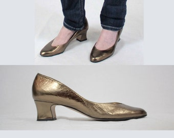 Vintage real leather gold pumps 9/ 60s 1960s pumps/Low heel 80s pumps women 9 brown pumps/metallic gold heels evening ballet kitten chunky