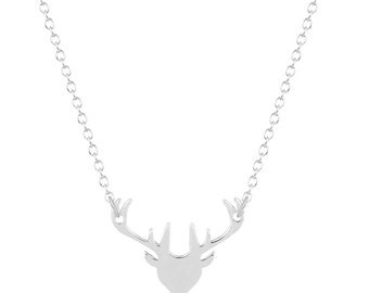 Deer Head with Antlers Necklace with Chain
