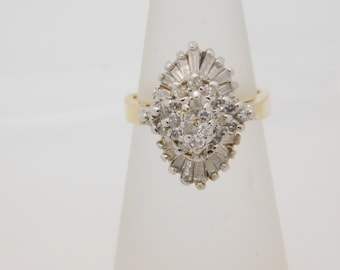 1.00 Carat T.W. Round & Baguette Cut Diamond Cluster Ring 14K Yellow Gold