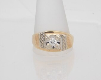 0.25 Carat Man's Round Cut Diamond Solitaire Ring 14K Yellow Gold