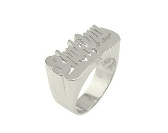 Lee111-14w - 14K White Gold Large Size Heart Tail Name Ring