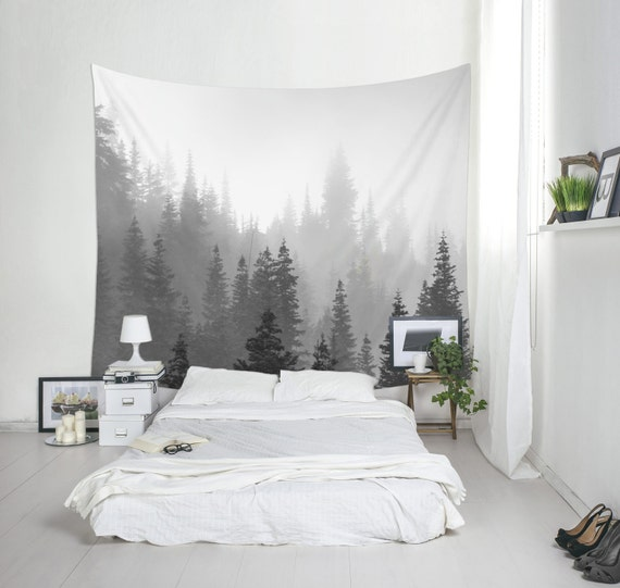 Tree Tapestry, Black And White, Landscape Photo, Forest Tapestry, Nature Wall Decor, Washington State, Fog Tree Tapestries, Pine Trees