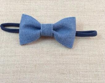 Denim bow headband, Skinny nylon headband, Navy blue headband, Newborn bow headband, Girls bow headband, Girls denim bow headband