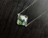 Labradorite Clover Necklace, simple labradorite necklace, unique labradorite, square labradorite, silver jewelry gift, gemstone clover, mom