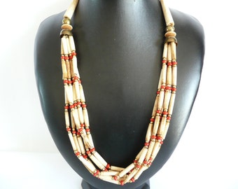 Vintage Tribal Bone Beaded Necklace Multi Strand Bone Beaded Necklace