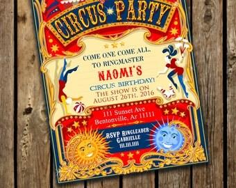 Vintage Circus Birthday Invitation, Printable Circus Invitation, Birthday Circus Invitation, Carnival Circus Invitation, Big Top Invitation