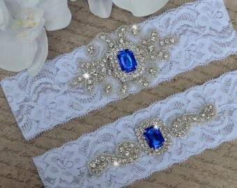 Crystal Wedding Garter, Garter, Wedding Garter Set, Blue Garter, Bridal Garter Set, Lace Garter, Blue Wedding Garter, Garter Style- 12QW85