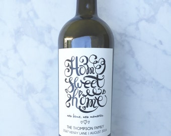 Personalized New Home Housewarming Gift Wine Label, Realtor Closing Gift, Home Sweet Home, First Home, New Homeowner Gift