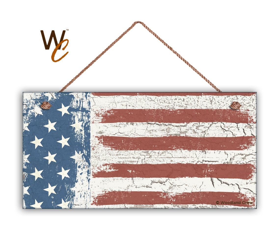 Americana Wall Decor Plaques Signs: American Flag Sign Weathered Patriotic Decor Stars